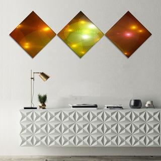 Designart 'Golden Fractal Lights in Fog' Abstract Wall Art Canvas - 3 Diamond Canvas Prints