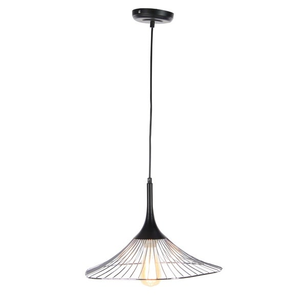 Contemporary 11 x 17 Inch Cone-Shaped Pendant with Bulb by Studio 350