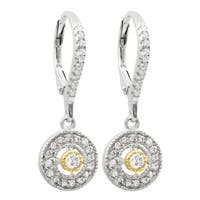 Luxiro Sterling Silver Two-tone Finish White Cubic Zirconia Dangle Earrings