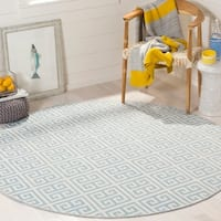 Safavieh Hand-Woven Montauk Light Blue/ Ivory Cotton Rug - 6' Round