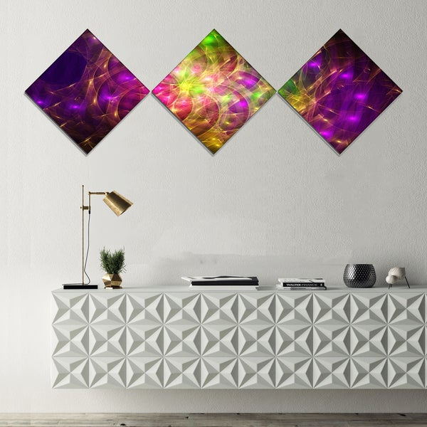 Designart 'Purple Green Symphony of Colors' Abstract Wall Art Canvas - 3 Diamond Canvas Prints