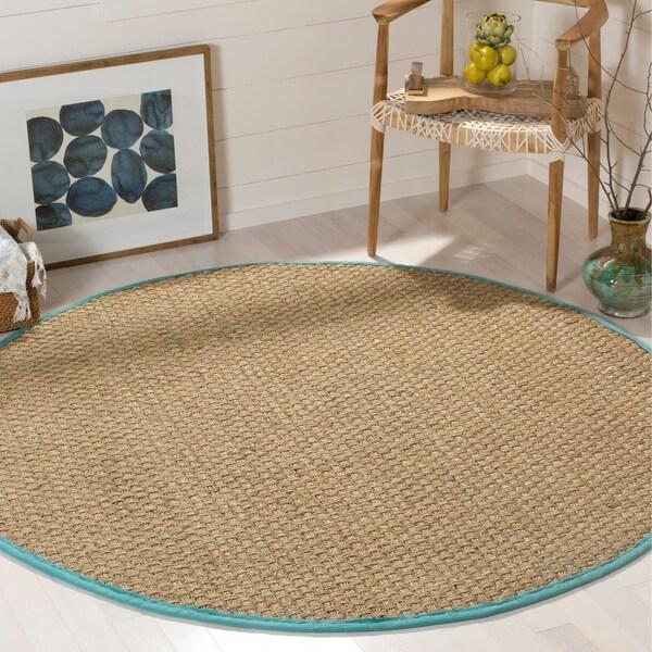Seagrass Circular Rug: Shop Safavieh Natural Fiber Natural/ Teal Seagrass Rug
