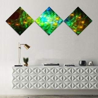 Designart 'Green Fractal Symphony of Colors' Abstract Wall Art Canvas - 3 Diamond Canvas Prints