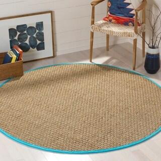 Safavieh Natural Fiber Natural/ Turquoise Seagrass Rug (6' Round)