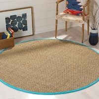 Safavieh Natural Fiber Natural/ Turquoise Seagrass Rug - 6' Round