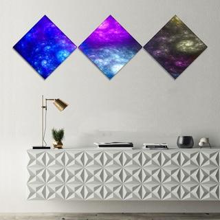 Designart 'Colorful Fractal Rotating Galaxies' Abstract Wall Art Canvas - 3 Diamond Canvas Prints