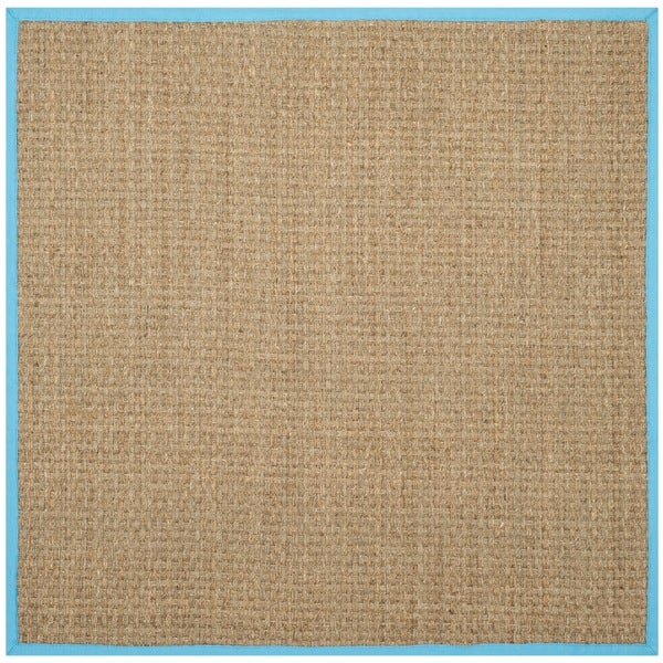 Safavieh Natural Fiber Natural/ Turquoise Seagrass Rug (6' Square)