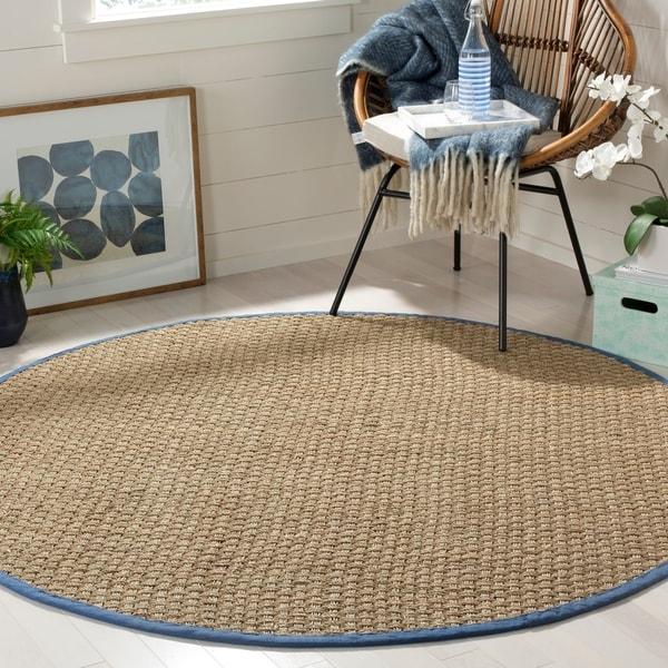 Seagrass Circular Rug: Shop Safavieh Natural Fiber Natural/ Navy Seagrass Rug