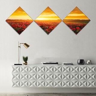 Designart 'Poppy Field under Ablaze Sunset' Abstract Wall Art Canvas - 3 Diamond Canvas Prints