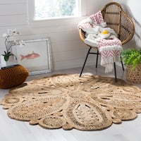 Safavieh Hand-Woven Natural Fiber Charming Floral Jute Rug - 4' x 4' Round