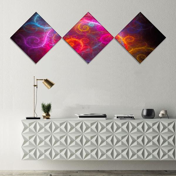 Designart \'Beautiful Pink Pattern on Black\' Abstract Wall Art Canvas ...