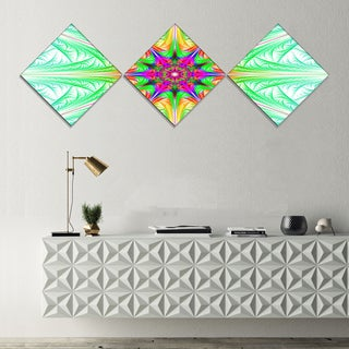 Designart 'Green Fractal Stained Glass' Abstract Wall Art Canvas - 3 Diamond Canvas Prints
