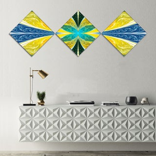 Designart 'Yellow Fractal Stained Glass' Abstract Wall Art Canvas - 3 Diamond Canvas Prints