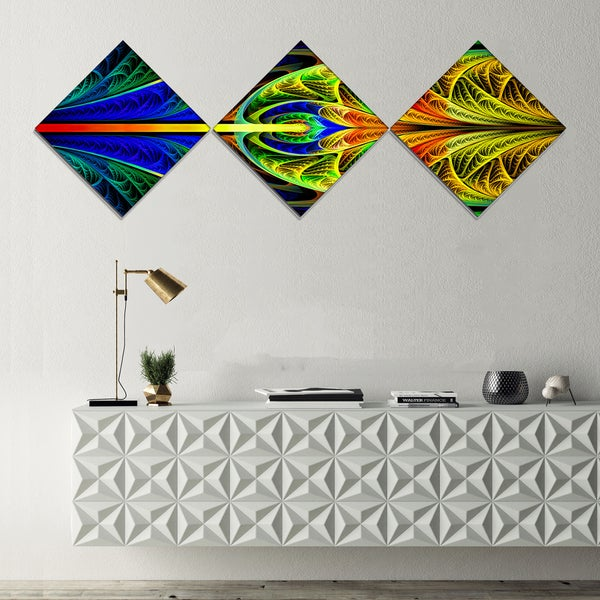 Designart 'Colorful Stained Glass Texture' Abstract Wall Art Canvas - 3 Diamond Canvas Prints