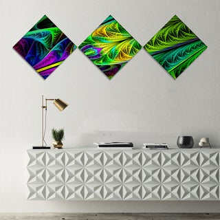 Designart 'Green Stained Glass Texture' Abstract Wall Art Canvas - 3 Diamond Canvas Prints