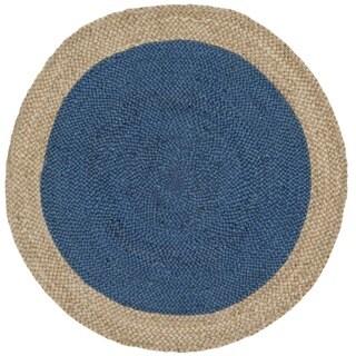 Safavieh Hand-Woven Natural Fiber Royal Blue/ Natural Jute Rug (3' Round)