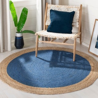 Safavieh Hand-Woven Natural Fiber Royal Blue/ Natural Jute Rug (4' Round)