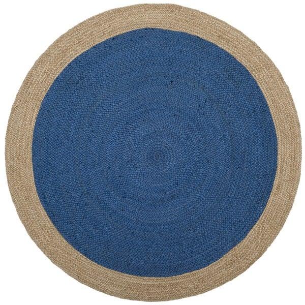 Safavieh Hand-Woven Natural Fiber Royal Blue/ Natural Jute Rug (5' Round)
