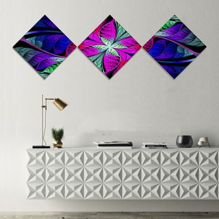 Designart 'Multi Color Stained Glass Texture' Abstract Canvas Art Print - 3 Diamond Canvas Prints