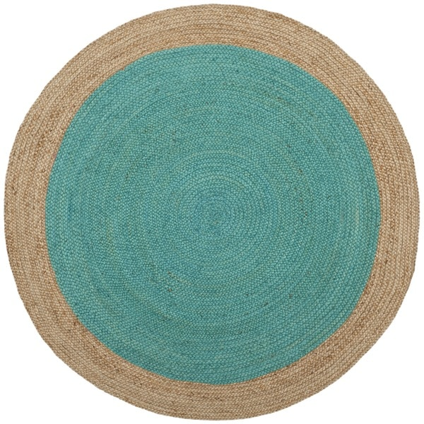 Safavieh Hand-Woven Natural Fiber Teal/ Natural Jute Rug