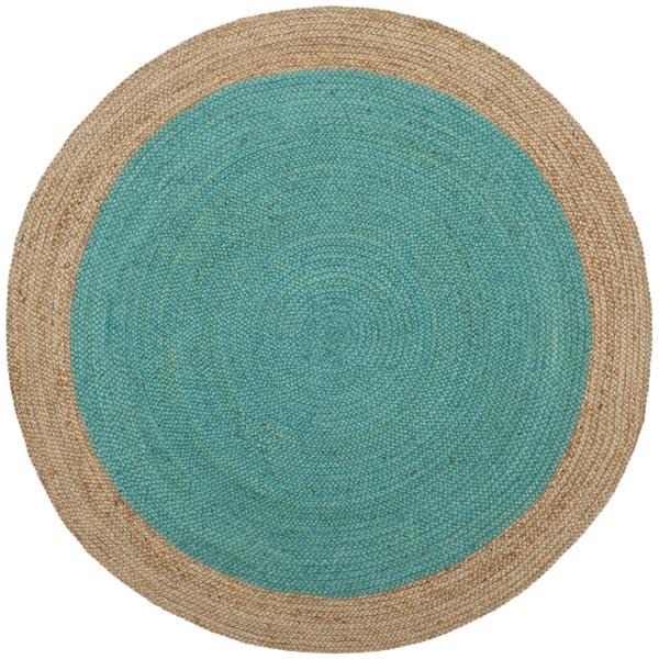 Safavieh Hand-Woven Natural Fiber Teal/ Natural Jute Rug - 4' Round