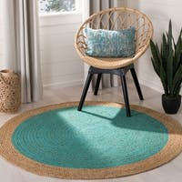 Safavieh Hand-Woven Natural Fiber Teal/ Natural Jute Rug - 6' x 6' Round