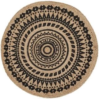 Safavieh Handmade Natural Fiber Valentien Casual Jute Rug (6 x 6 Round - Black/Natural)