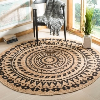 Safavieh Hand-Woven Natural Fiber Black/ Natural Jute Rug (5' Round)