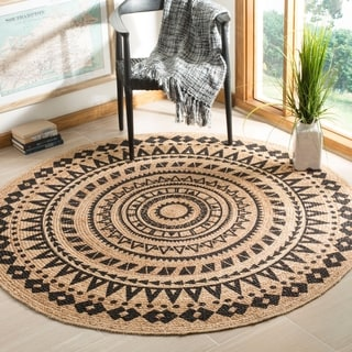Safavieh Hand-Woven Natural Fiber Black/ Natural Jute Rug (6' Round)
