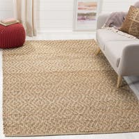 Safavieh Hand-Woven Natural Fiber Natural/ Red Jute Rug - 6' Square