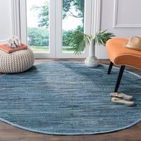 Safavieh Hand-Woven Rag Rug Bohemian Blue/ Multi Cotton Rug - 4' Round