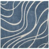 Safavieh Shag Light Blue/ Cream Rug - 6'7 Square