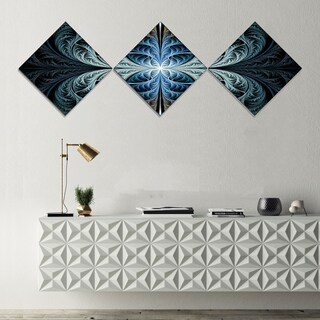 Designart 'Glowing Blue Fabulous Fractal Art' Abstract Canvas Art Print - 3 Diamond Canvas Prints