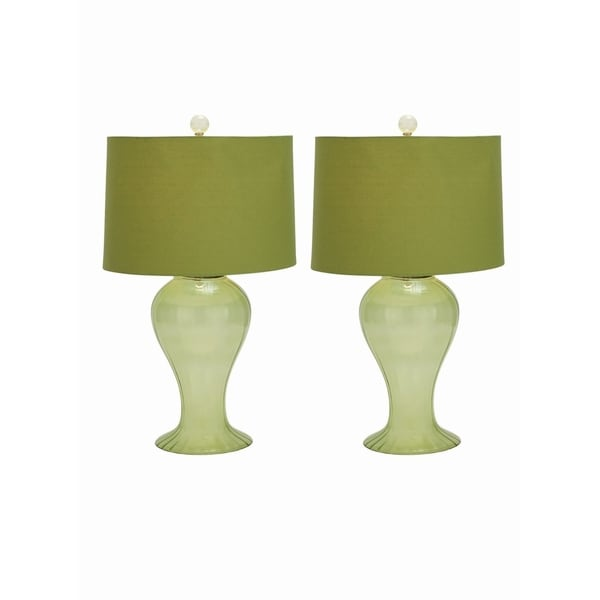 Studio 350 Set of 2, Glass Light Green Table Lamp 27 inches high