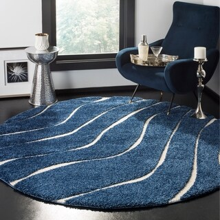 Safavieh Shag Dark Blue/ Cream Rug - 6'7 Round