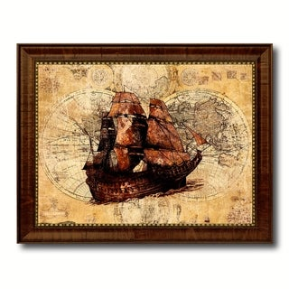 Boat Nautical Vintage Map Canvas Print with Picture Frame Ocean Office Home Decor Wall Art Display Sign Gift Ideas