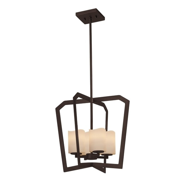Justice Design Group CandleAria Aria 4-light Dark Bronze Chandelier, Cream Cylinder - Melted Rim Shade