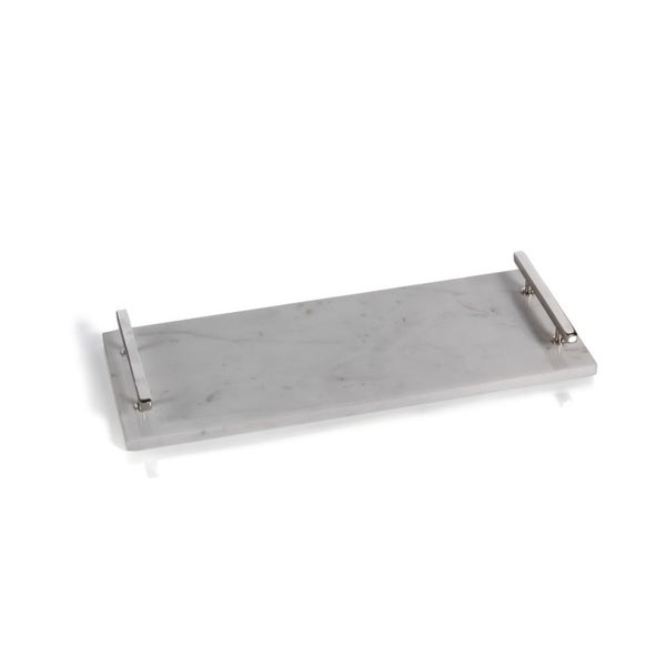 """20"""" Long Marble Tray with Nickel Handles, Rectangular Shaped"""