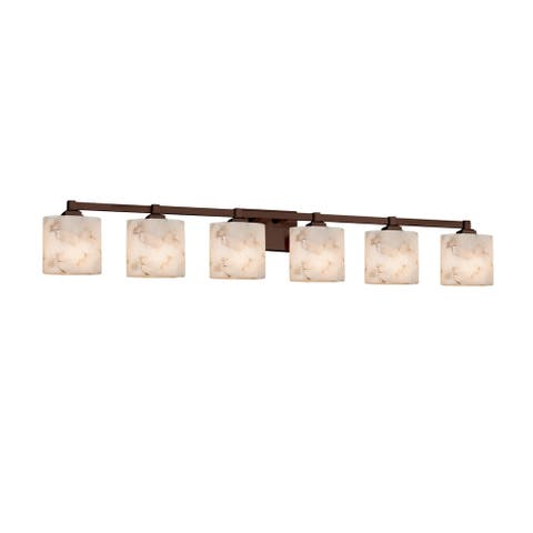Justice Design Alabaster Rocks Regency 6-light Dark Bronze Bath Bar, Oval Shade