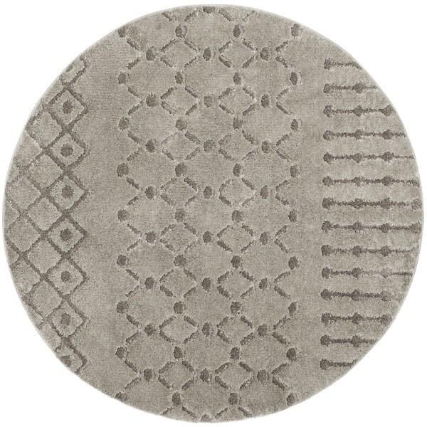 Safavieh Sparta Shag Grey/ Grey Polyester Rug - 6'7 Round