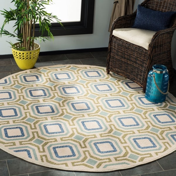 Safavieh Veranda Cream/ Green Rug - 6'7 Round