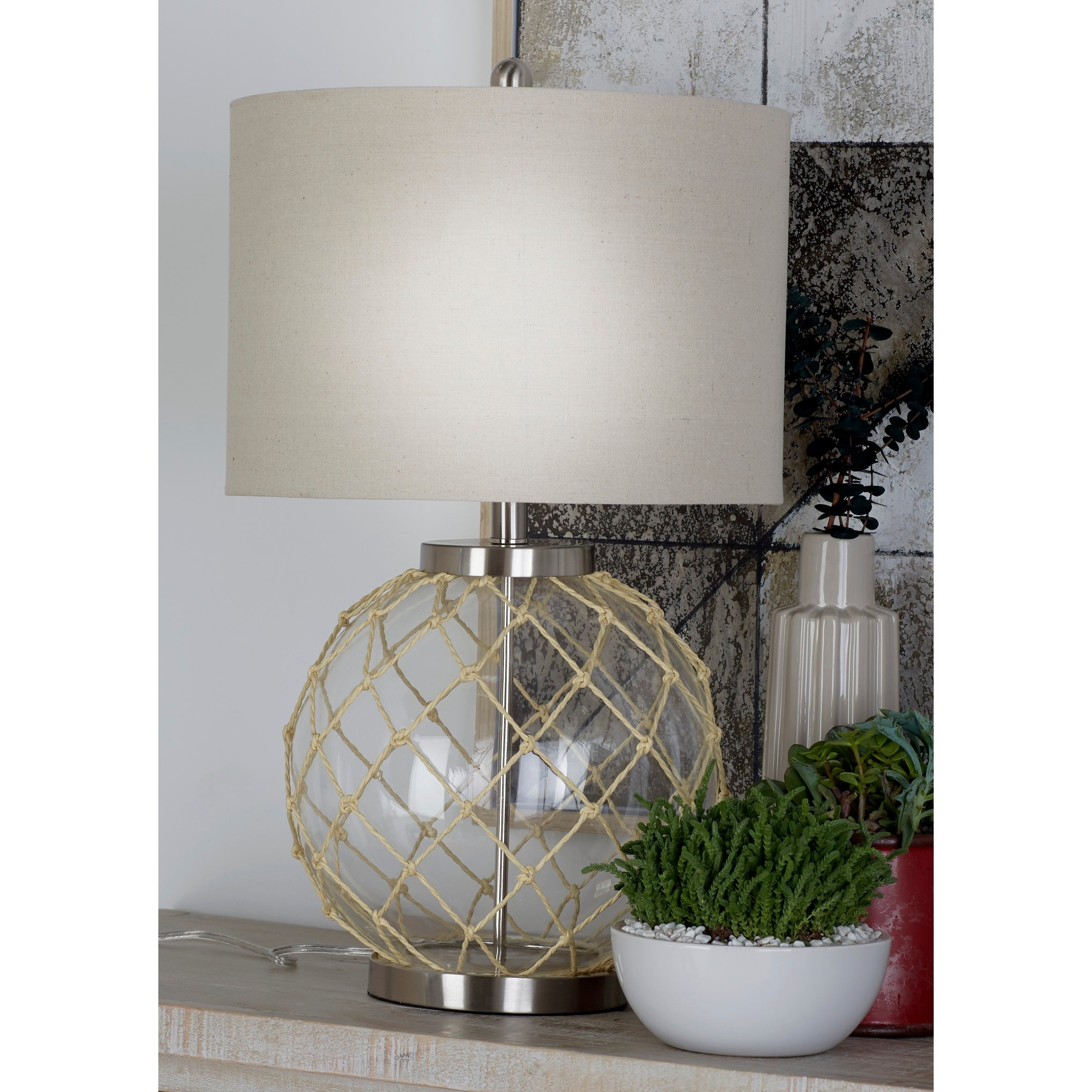 Studio 350 Set of 2, Glass Metal Table Lamp 26 inches hig...