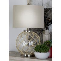 Set of 2 Coastal Fishnet-Covered Glass Globe Table Lamps by Studio 350