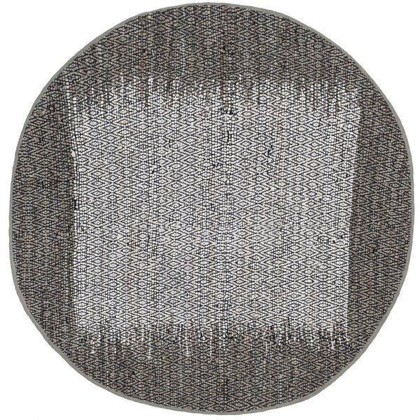 Safavieh Hand-Woven Vintage Leather Light Grey/ Grey Leather Rug - 4' Round
