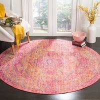 Safavieh Windsor Vintage Gold/ Fuchsia Cotton Rug - 6' Round