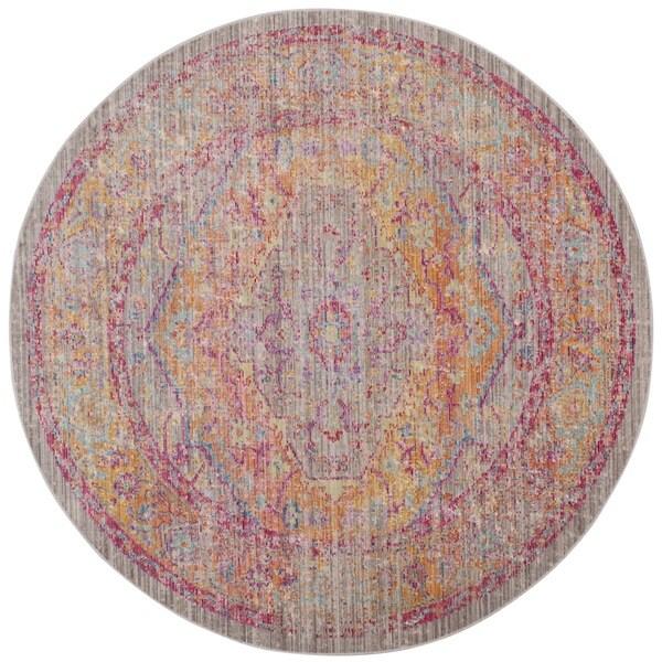 Safavieh Windsor Vintage Grey/ Gold Cotton Rug (6' Round)