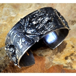 Handmade Mirror Antique Silver Solid Brass Sculptural Frogs Cuff Bracelet by Elaine Coyne (USA)