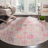 Safavieh Windsor Vintage Grey/ Fuchsia Cotton Rug - 6' Round