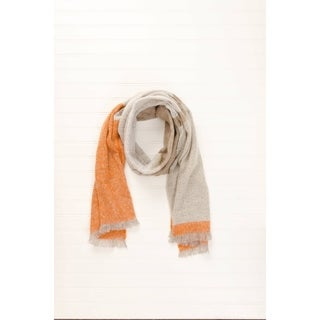 """Tickled Pink Colorblock Classic Heavyweight Scarf 20 x 70"""" - Beige"""