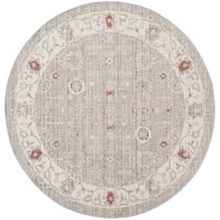 Safavieh Windsor Vintage Light Grey/ Ivory Cotton Rug (6' Round)